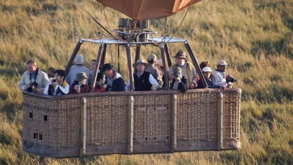 This 2004 file photo show large capacity hot air basket carrying tourist on safari in Masai Mara, Kenya.