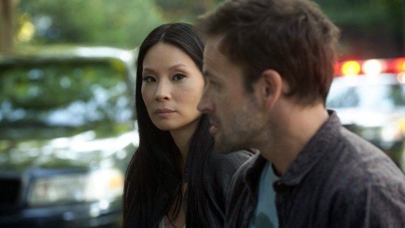 "Lucy Liu and Jonny Lee Miller in ""Elementary."" Liu's also known for her roles in ""Kill Bill,"" ""Charlie's Angels,"" and ""Ally McBeal."""