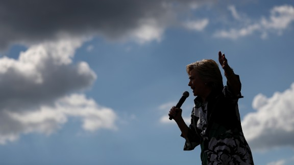 Democratic presidential nominee former Secretary of State Hillary Clinton speaks during a campaign rally with democratic vice presidential nominee U.S. Sen Tim Kaine at Fort Hayes Vocational School on July 31, 2016 in Columbus, Ohio.