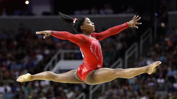 Biles also is known for her extremely powerful running skills. Her ability to get up to speed quickly lets her pack more tumbling elements into a single jump.