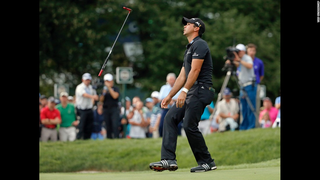 Jason Day tosses his putter Sunday, July 31, after a missed putt in the final round of the PGA Championship. Day, the No. 1 golfer in the World Golf Ranking, finished second to Jimmy Walker.