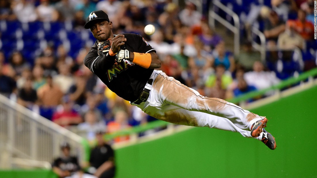 Miami shortstop Adeiny Hechavarria throws out a runner on Thursday, July 28.