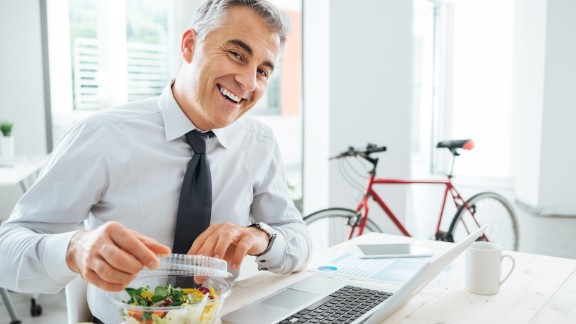 This office luncher is thrilled to enjoy a meal outside his cubicle walls. Tip 4: Eat away from your desk. Even if it's in the office break room, stepping away gives you a chance to de-stress.