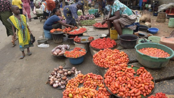 In sub-Saharan Africa, the growth in the rate of obesity among men is larger than that of undernourishment, and in Nigeria and Ethiopia diabetes is on the increase, the report shows.   Pictured here, vendors display tomatoes and pepper at a market in Lagos, Nigeria.