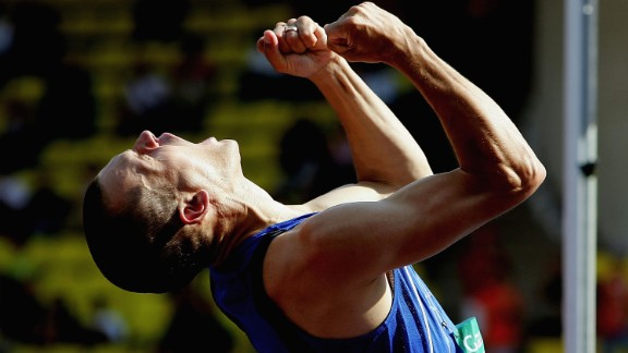 MONTE CARLO, MONACO - SEPTEMBER 10:  Stefan Holm of Sweden celebrates a jump in the high jump during the IAAF World Athletics Final on September 9, 2005 at the Stade Louis II in Monte Carlo, Monaco.  (Photo by Jamie McDonald/Getty Images)