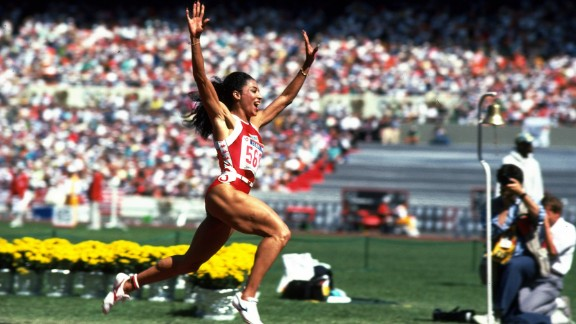 <strong>Flo-Jo's record runs:</strong> American sprinter Florence Griffith Joyner dominated the 100 and 200 meters at the 1988 Summer Games in Seoul, South Korea. She set a world record in the 200 (21.34 seconds) that still stands today. Her Olympic record in the 100 meters (10.62 seconds) was just off the world record she set a couple months earlier. That record (10.49 seconds) still stands today as well.