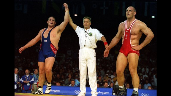 <strong>An upset for the ages:</strong> Rulon Gardner, a Greco-Roman wrestler for the United States, made history in 2000 when he defeated Russia's Aleksandr Karelin in the gold-medal match of the 130-kilogram (287-pound) weight class. Karelin, the gold medalist in 1988, 1992 and 1996, had not lost a match in 13 years.
