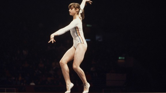 <strong>A perfect 10:</strong> Nadia Comaneci became the first gymnast in Olympic history to score a perfect 10 in an event -- and she did it seven times at the 1976 Olympics. The Romanian, who collected three golds in Montreal,  finished with three 10s on the balance beam and four on the uneven bars.