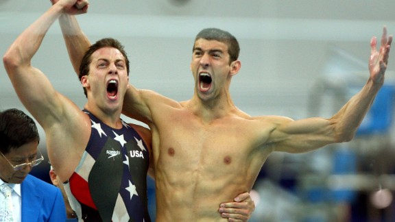 <strong>Phelps wins eight gold medals in Beijing: </strong>Swimmer Michael Phelps, right, became the first athlete to win eight gold medals in one Olympics when he helped the United States win the 4x100 medley in 2008. Here, he celebrates with Garrett Weber-Gale after a victory in the 4x100 freestyle. No one has won more Olympic medals than Phelps, who added to his collection in 2012 and 2016.