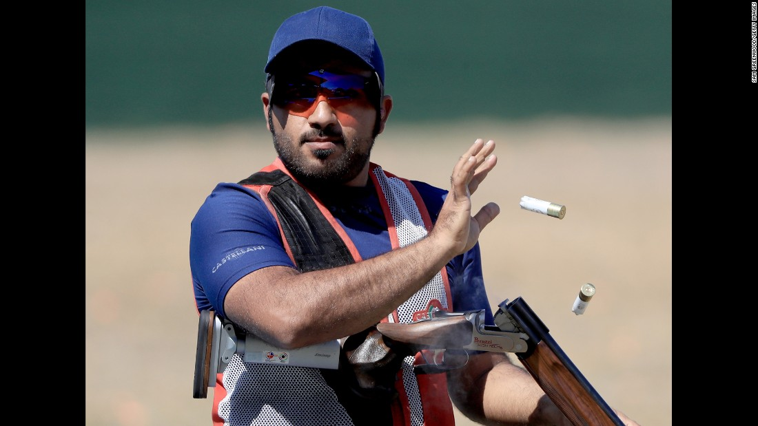 Khaled Alkaabi, a shooter from the United Arab Emirates, practices in Rio on August 2.