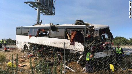 About 30 passengers were on board as the bus was heading north on Highway 99.