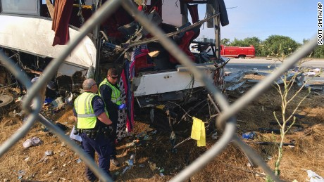 The exit sign pole sliced halfway through the bus, a California Highway Patrol spokesman said.