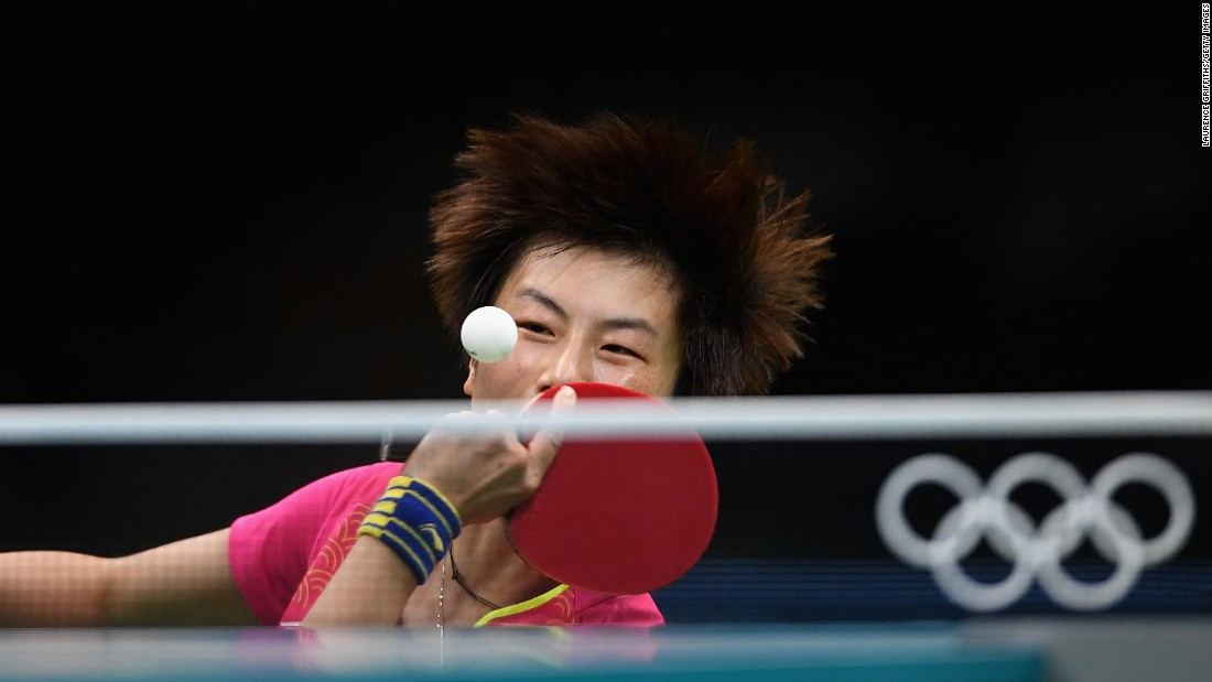 Ning Ding, a table tennis player from China, practices in Rio on August 2.