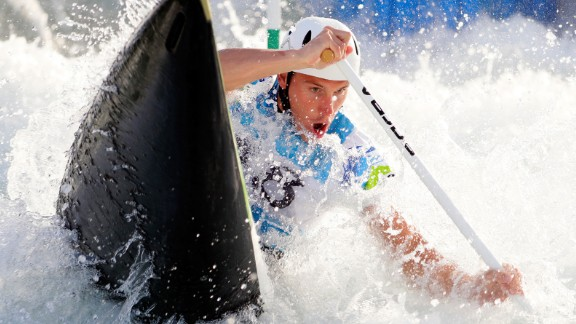 A competitor practices during training for the whitewater canoe event prior to the 2016 Summer Olympics on August 2, 2016, in Rio de Janeiro, Brazil.
