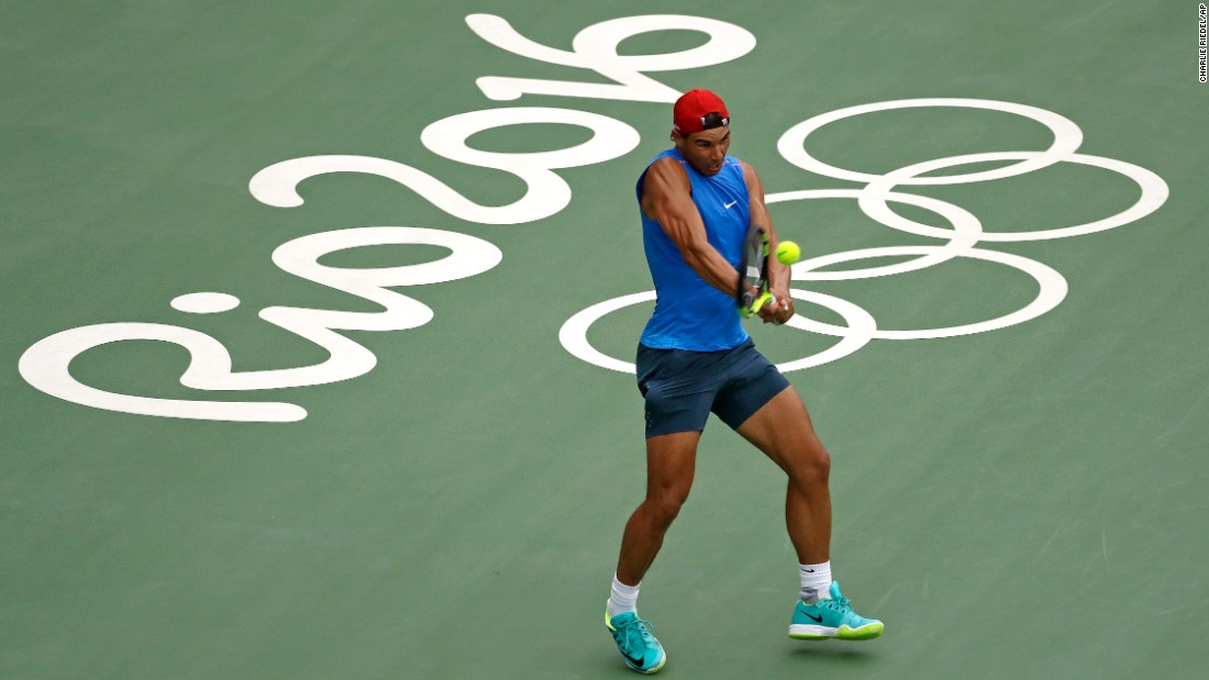 Spanish tennis player Rafael Nadal practices in Rio on August 3.
