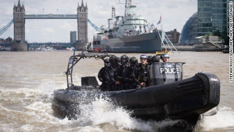 Armed Metropolitan Police counter terrorism officers take part in an exercise on the River Thames in London on August 3, 2016.  Metropolitan Police Commissioner Bernard Hogan-Howe and Mayor of London Sadiq Khan announced the start of Operation Hercules in which 600 additional firearms officers will be deployed in visible roles in the capital.  / AFP / POOL / Stefan Rousseau        (Photo credit should read STEFAN ROUSSEAU/AFP/Getty Images)