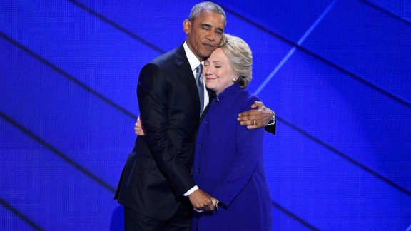 Obama hugs Hillary Clinton after speaking at the Democratic National Convention in July 2016. Obama told the crowd at Philadelphia