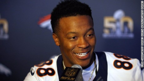 SANTA CLARA, CA - FEBRUARY 03:  Demaryius Thomas #88 of the Denver Broncos speaks to the media during the Broncos media availability for Super Bowl 50 at the Santa Clara Marriott on February 3, 2016 in Santa Clara, California. The Broncos will play the Carolina Panthers in Super Bowl 50 on February 7, 2016.  (Photo by Ezra Shaw/Getty Images)