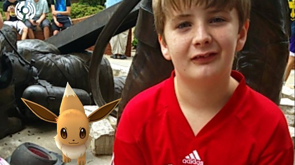 Ian Thayer, 12, has been going outside more to catch Pokemon.