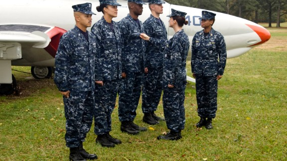 """Sailors wearing the Navy Working Uniform I, dubbed """"aquaflage,"""" in 2008. Unless otherwise prescribed by the regional commander, the uniform is currently authorized to be worn at all facilities on base."""