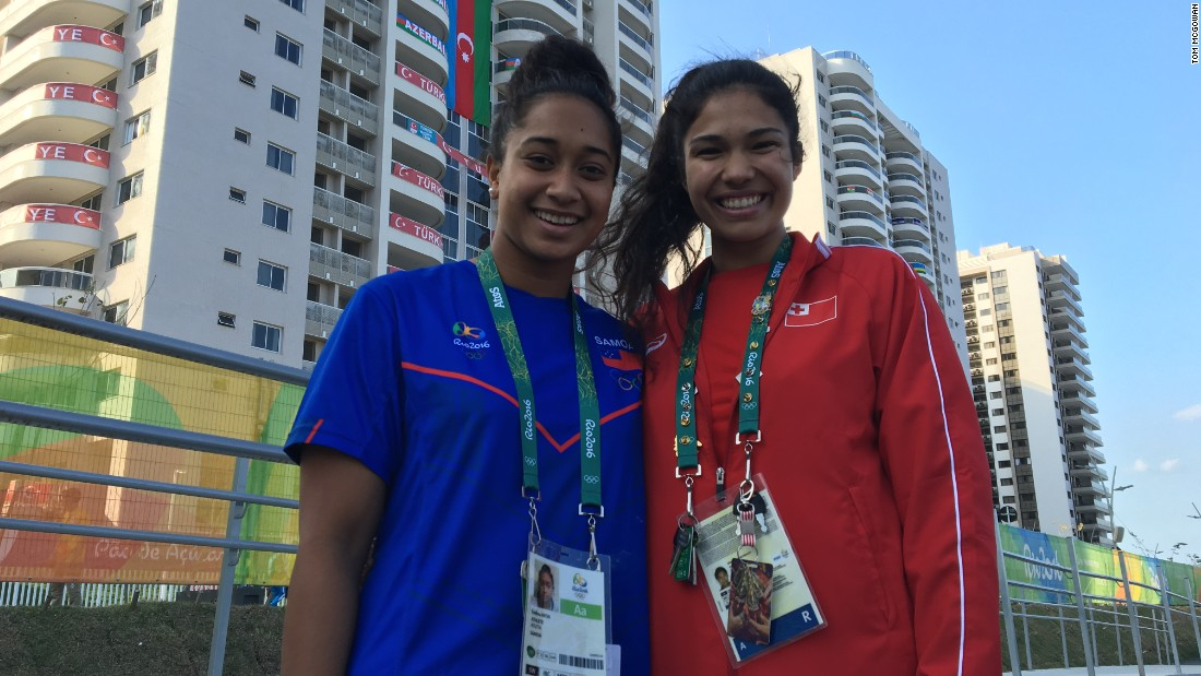 Swimmers Irene Prescott (right) and Evelina Afoa, of Tonga and Samoa respectively, are staying in the same building as the Australians, although they didn't experience any problems with the facilities upon their arrival in Brazil.