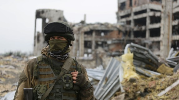 An armed pro-Russian separatist of the self-proclaimed Donetsk People