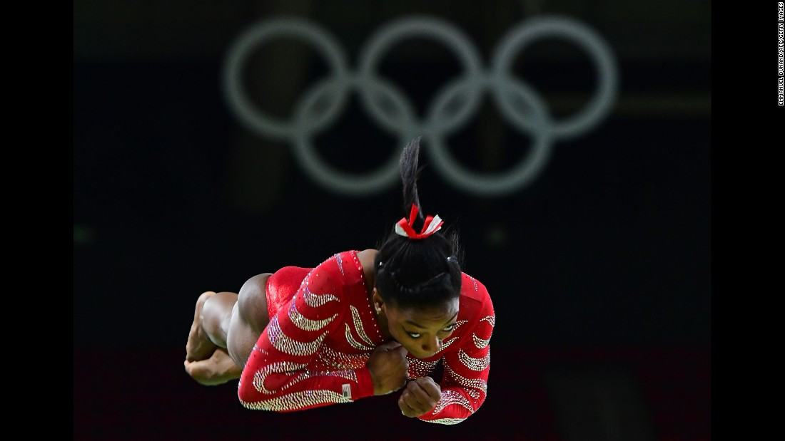 American gymnast Simone Biles practices on the vault during a training session August 4.
