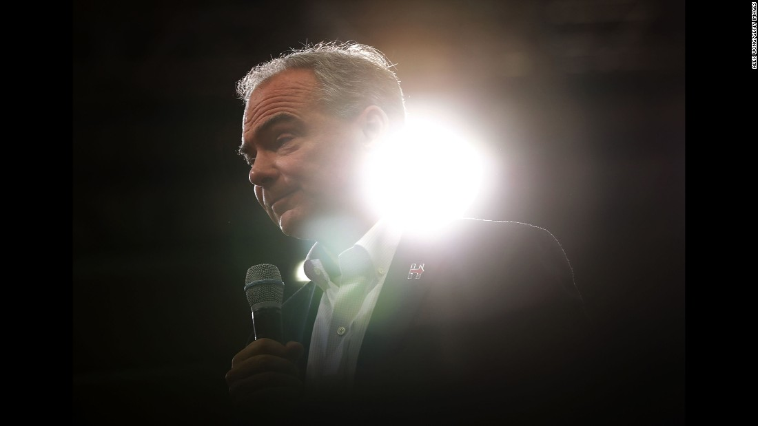 U.S. Sen. Tim Kaine, Hillary Clinton's running mate, speaks at a campaign event in Richmond, Virginia, on Monday, August 1.