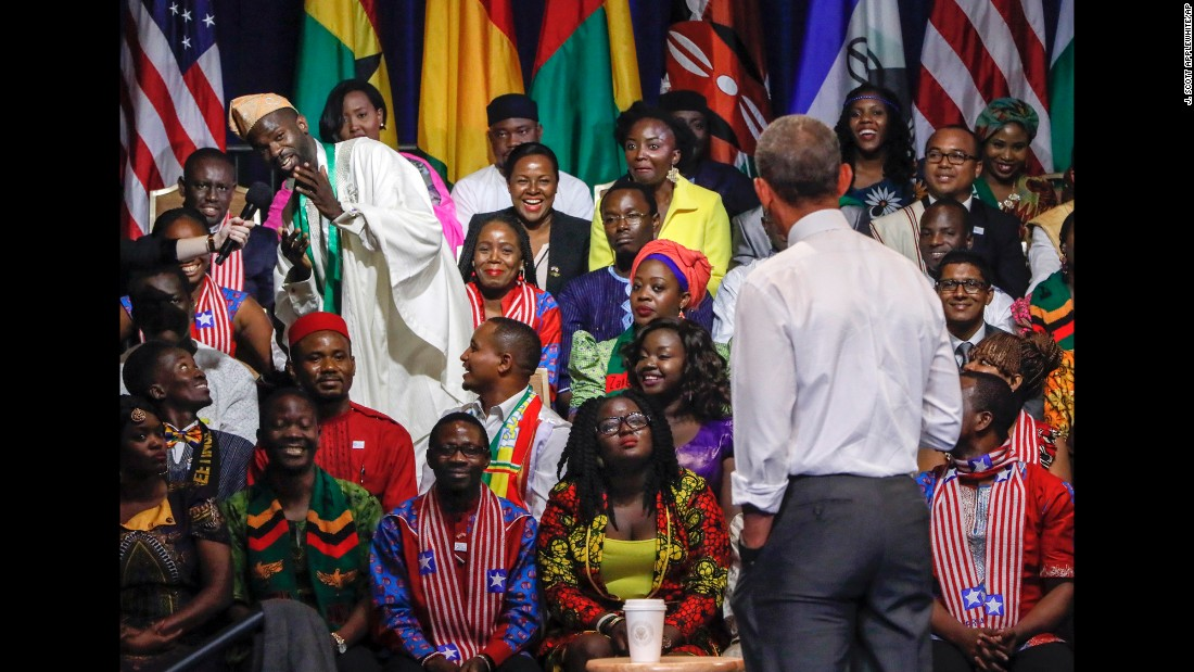 U.S. President Barack Obama takes questions from the audience Wednesday, August 3, during a town-hall event in Washington for the Young African Leaders Initiative.