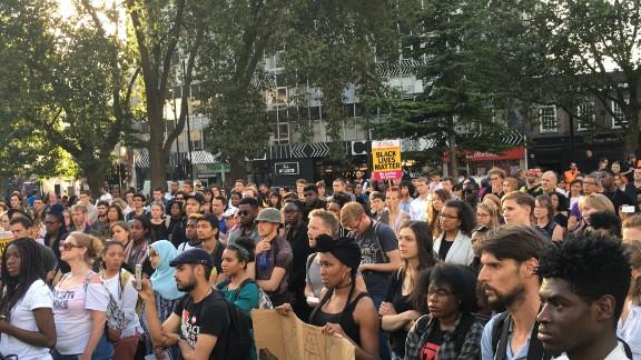 The crowd in Altab Ali Park in Whitechapel in east London.