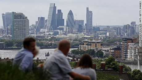 "The skyline of the City of London is pictured on the horizon as people relax in Greenwich park in south-east London on June 26, 2016.  British business minister Sajid Javid on Sunday urged companies not to panic following Britain's vote to leave the European Union (EU) despite dire warnings of the economic consequences of the Brexit vote. ""Our economic fundamentals remain strong. They're strong enough to weather any short-term market volatility,"" he said, after Thursday's vote plunged global financial markets and the value of the pound. / AFP / ODD ANDERSEN        (Photo credit should read ODD ANDERSEN/AFP/Getty Images)"