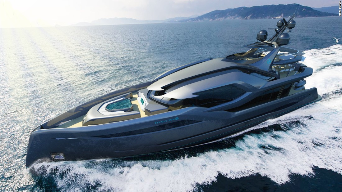 "The 45-meter <a href=""http://www.andywaugh.co.uk/concepts/revolution/#"" target=""_blank"">Revolution</a>, he says, pushes boundaries with its trident-style roof that evokes sea gods Neptune and Poseidon, while its logo incorporates Japanese samurai symbology. ""It's an aggressively-styled concept intended to be a stark contrast to conventional yacht styling,"" Waugh says."