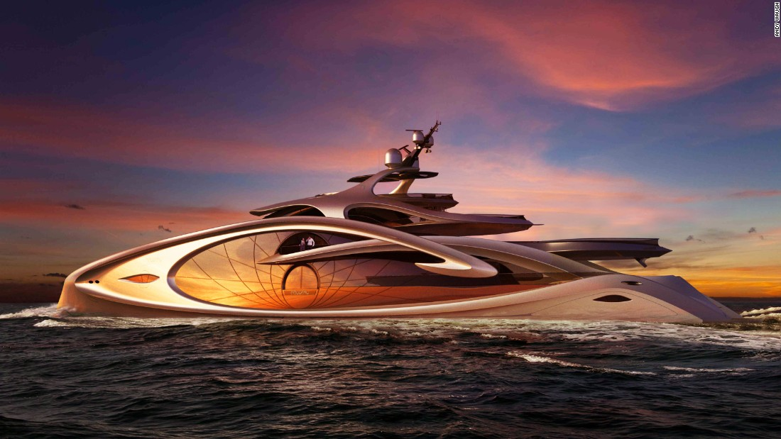 "Waugh describes <a href=""http://www.andywaugh.co.uk/concepts/nouveau/"" target=""_blank"">Nouveau</a> as ""a concept that pushes the boundaries of the yacht aesthetic to an extreme."" A water feature runs from the sun-deck Jacuzzi, across the bridge and owner's decks and then down a water-slide into the main deck pool, giving the feeling of being at one with nature and the seascape."