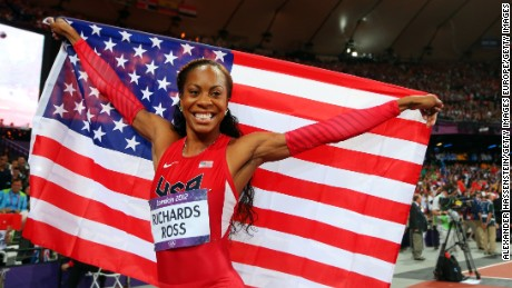 LONDON, ENGLAND - AUGUST 05:  Sanya Richards-Ross of the United States celebrates winning gold in the Women's 400m Final on Day 9 of the London 2012 Olympic Games at the Olympic Stadium on August 5, 2012 in London, England.  (Photo by Alexander Hassenstein/Getty Images)