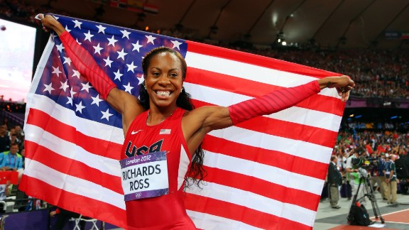 LONDON, ENGLAND - AUGUST 05:  Sanya Richards-Ross of the United States celebrates winning gold in the Women