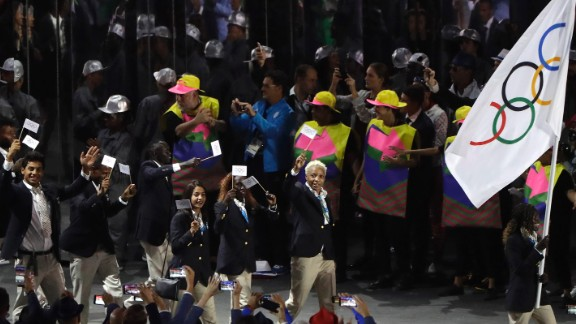 The Refugee Olympic Team walks out during the parade of nations.