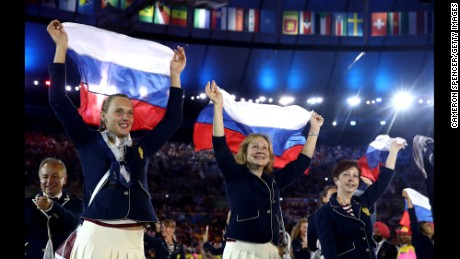 Despite some boos, Russia's athletes were all smiles during the Opening Ceremony.