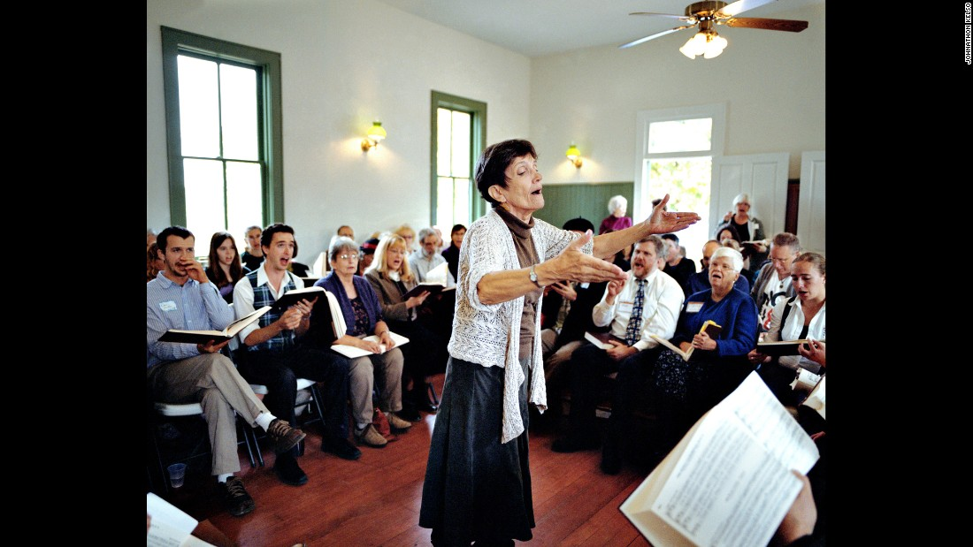 Judy Hauff leads a Sacred Harp singing group in Shakopee, Minnesota. The a capella music is named after a hymnbook published in the 19th century.