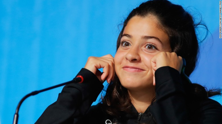 RIO DE JANEIRO, BRAZIL - AUGUST 02:  Syrian swimmer Yusra Mardini of the Refugee Olympic Team attends a press conference on August 2, 2016 in Rio de Janeiro, Brazil.  (Photo by Ker Robertson/Getty Images)