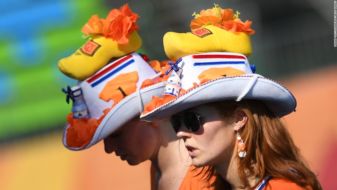 Dutch fans watch the women's field hockey match between New Zealand and South Korea. The Netherlands was to face off against Ireland in the men's division later in the day.