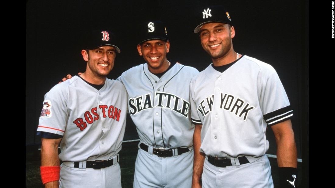 Rodriguez, center, poses with Nomar Garciaparra, left, of the Boston Red Sox, and future teammate Derek Jeter of the Yankees on July 11, 2000 in Atlanta, Georgia.