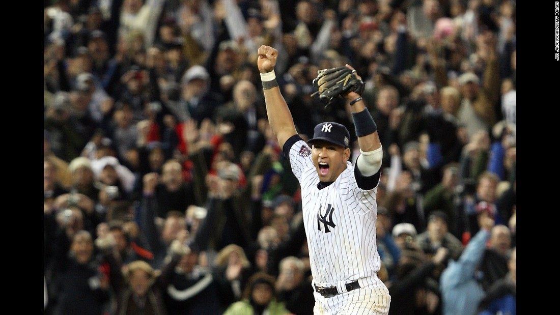 Rodriguez celebrates after the Yankees defeat the Philadelphia Phillies 7-3 to win the World Series on November 4, 2009.