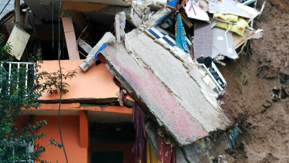 A home damaged by a landslide in Xalapa in Veracruz, Mexico on August 6, 2016.