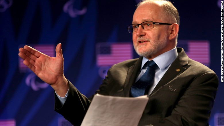 BEVERLY HILLS, CA - MARCH 07:  President of the International Paralympic Committee Sir Philip Craven addresses the media at the USOC Olympic Media Summit at The Beverly Hilton Hotel on March 7, 2016 in Beverly Hills, California.  (Photo by Maxx Wolfson/Getty Images for the USOC)