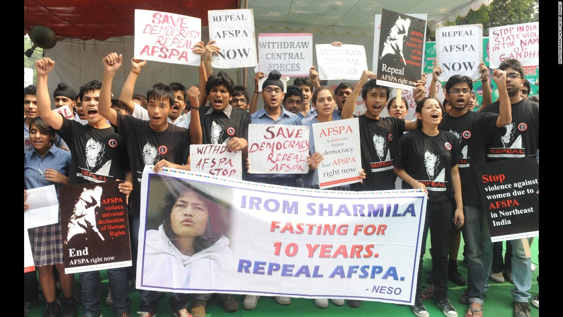 Activists supporting the repeal of the Armed Forces Special Powers Act (AFSPA) shout slogans in support of the rights activist during a protest in New Delhi in November, 2011.