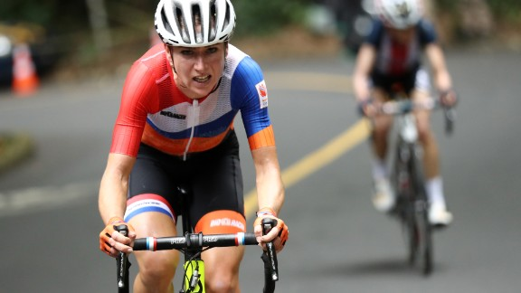 Netherlands' Annemiek Van Vleuten crashed out of the Women's road cycling race at the Rio 2016 Olympic Games