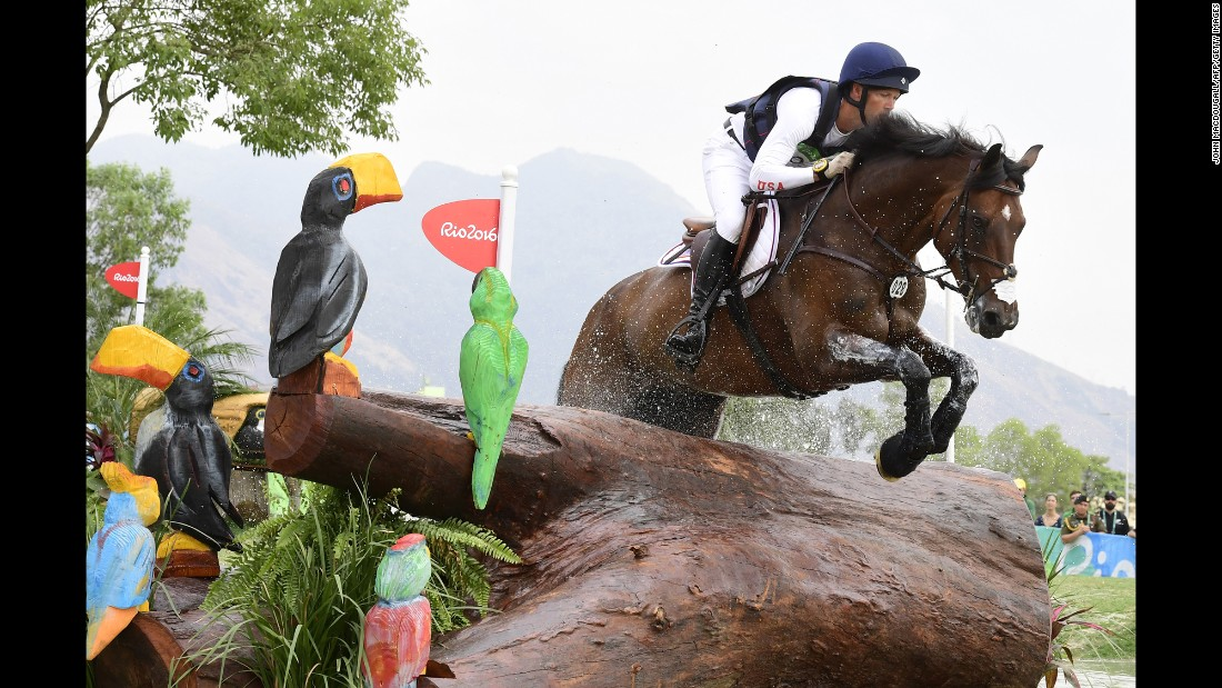 U.S. rider Clark Montgomery, on Loughan Glen, takes part in the cross-country test of the eventing competition.