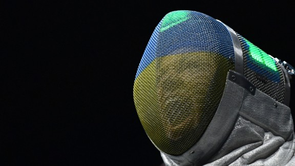 Ukrainian fencer Olena Kravatska takes part in the women's individual sabre competition.