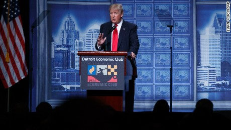 Republican presidential candidate Donald Trump delivers an economic policy speech to the Detroit Economic Club, Monday, Aug. 8, 2016, in Detroit.