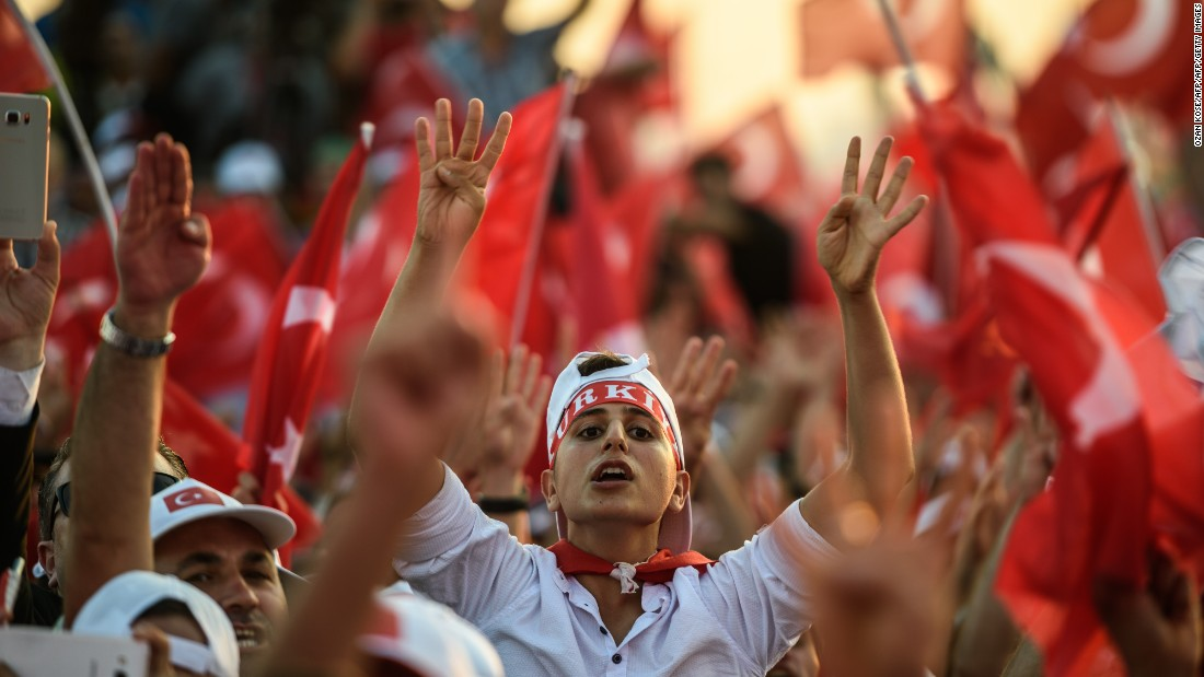 The pro-democracy rally was organized by the ruling Justice and Development Party, bringing to an end three weeks of demonstrations in support of Erdogan.